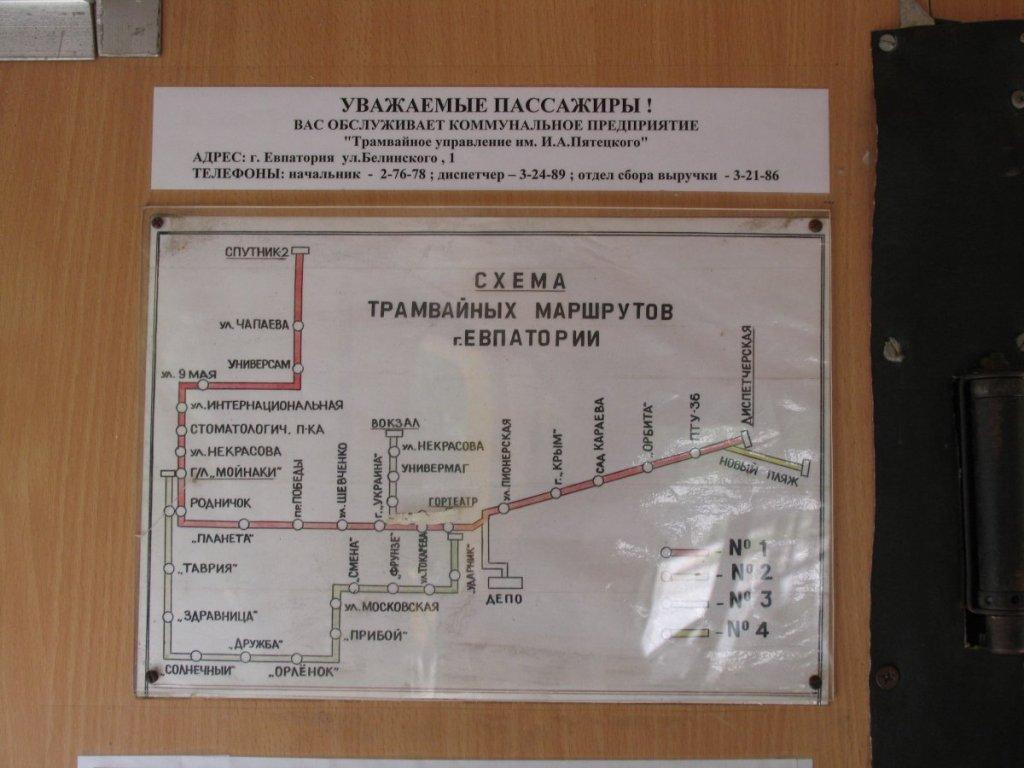 Схема движения трамваев, Евпатория.